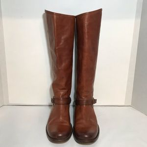 Frye Phillips Ring Harness Boots Brown Leather S 9
